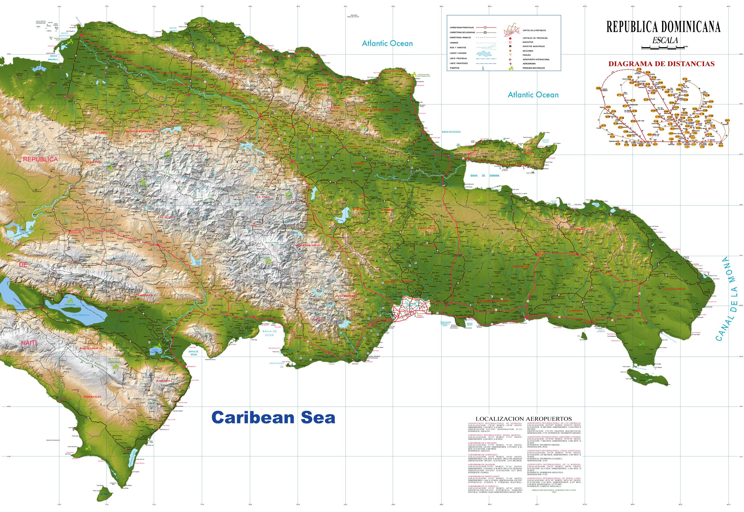 Map Hispaniola Island Vegetation