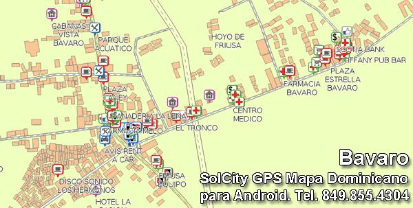 Bavaro Mapa Dominicano aplicacion GPS completo con mapa  GPS